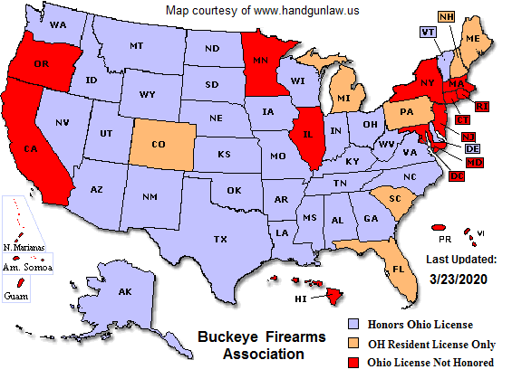 Concealed Carry Texas Reciprocity Map Ohio CCW Reciprocity Map | Buckeye Firearms Association