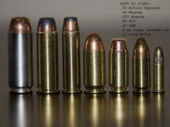 Handgun rounds arranged by caliber