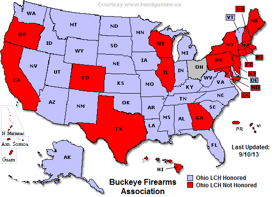 Ohio CCW Reciprocity Map