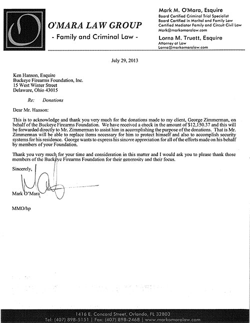 Zimmerman Thank You Letter